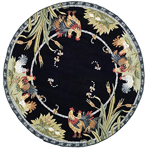 Safavieh Chelsea Collection HK56B Hand-Hooked Black Wool Round Area Rug, 5 feet 6 inches in Diameter (5'6