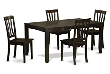 East West Furniture LYAN5-CAP-W 5-Piece Dining Table Set, Cappuccino Finish