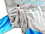 TySony Super Soft Shark Sleeping Bag Mermaid Tail Shark Blanket,Children Quilt for Boys Girls Shark Anti Tipi blanket (gray)