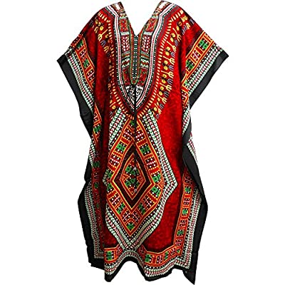 Bohemian Crepe Caftan Cover-Up Hippie Gypsy Chic #57 Red Dashiki Print