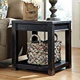 Ashley Furniture Signature Design Gavelston Square End Table, Rubbed Black Finish