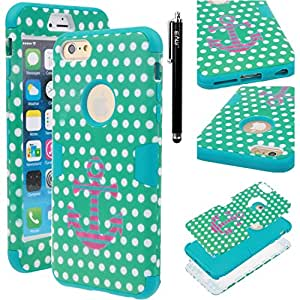 iPhone 6s Plus / iPhone 6 Plus Case, iPhone 6s Plus / iPhone 6 Plus defender Case, E LV iPhone 6s Plus / iPhone 6 Plus Case Cover - Dual Layer Hybrid Armor Defender Protective Case Cover for Apple iPhone 6s Plus / iPhone 6 Plus (5.5 Inch) - POLKA DOT BLUE / TURQUOISE