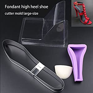 SK 3D Mold High-heeled Shoes Chocolate Decorating Silicone Gum Paste Baking Molds Large Size (Color: randomly)