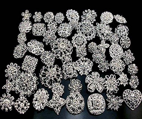 Lot 10pcs Silver/gold Color Sparking Wedding Bridal Crystal Brooch Bouquet Kit (silver)