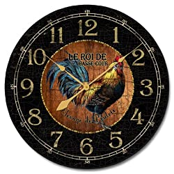 Black & Wood Rooster Clock, 12- 60, Whisper Quiet, non-ticking