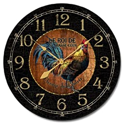Black & Wood Rooster Wall Clock, 10\