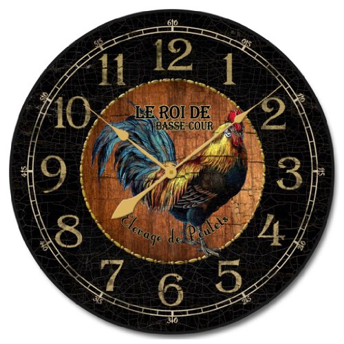 Black & Wood Rooster Clock, 12- 60 , Whisper Quiet, non-ticking