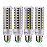 HUIERLAI 4-Pack 15W Super Bright LED Corn Light Bulb for Residential and Commercial Projec E26/E27 ( 120W Incandescent Bulb ) 1380Lm AC85-265V White(6000K) Non-Dimmable. (Color: White(6000K), Tamaño: 38MM/1.5IN*138MM/5.434IN)