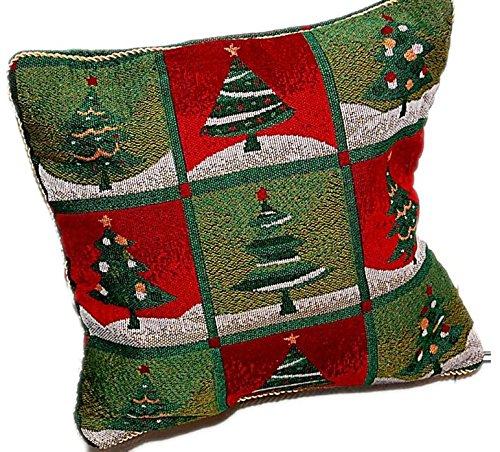 KissenHÜLLE 40x40 cm WEIHNACHTEN Gobelin Kissen DekoKISSEN SOFAkissen Kissenplatte ohne Füllung mit KORDEL Tannenbaum rot grün bunt