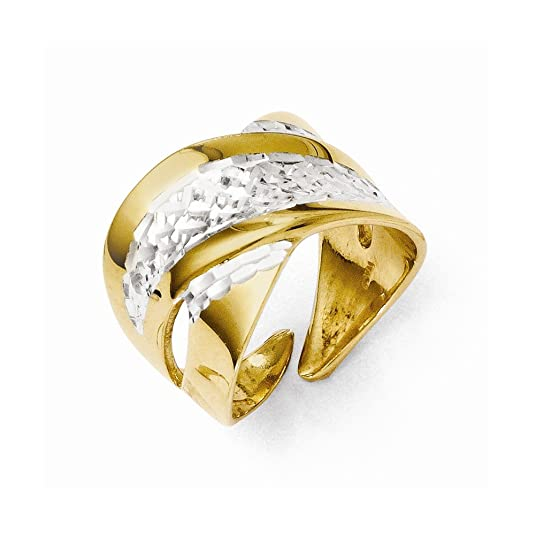 Leslies Sterling Silver and Gold-plated Diamond-cut Adjustable Ring
