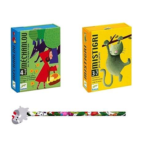 Lot de 2 Jeux DJECO : Mistigri + Méchanlou + 1 Crayon Funny