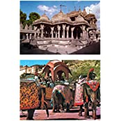 DollsofIndia Jain Temple & Elephants In Amer Fort (2 Postcards) 6 X 4.25 Inches