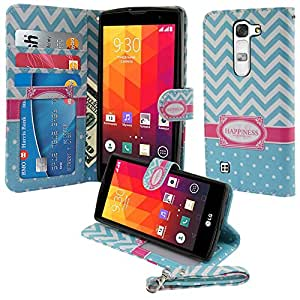 Nextkin LG Magna H502G/ G4c Mini Compact H525N/ Volt 2 LS751 Leather Pouch Wallet Card With TPU Gel Protector Cover Case - Teal Mint White Happiness Monogram