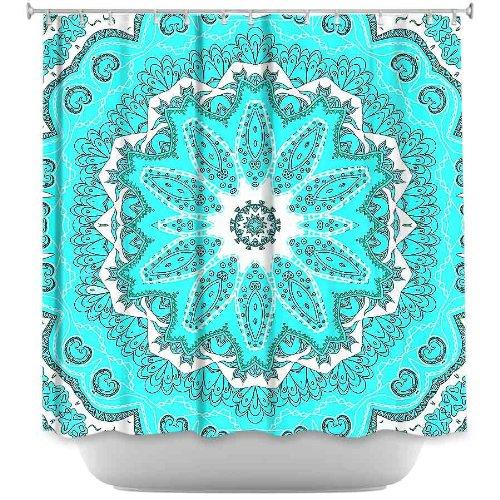 Shower Curtain Artistic Designer from DiaNoche Designs by Monika Strigel Stylish, Decorative, Unique, Cool, Fun, Funky Bathroom - Fairy Dream Mandala Fresh Mint