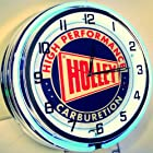 HOLLEY CARBURETOR 18 DOUBLE NEON LIGHTED RETRO STYLE WALL CLOCK BLUE