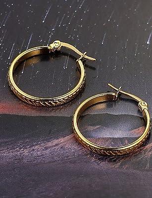 European fashion Small round twill skirt titanium steel diamond gold Hoop Earrings Wedding / Party / Casual 2pcs