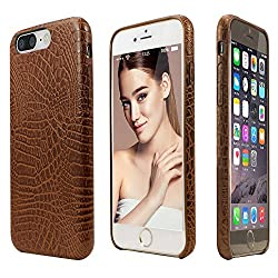 iPhone 7 Plus Case, incircle [Bareskin Series] Ultra Slim Fit Leather Flexible Bumper Case protection Three Layer Material New (Brown Aligator)