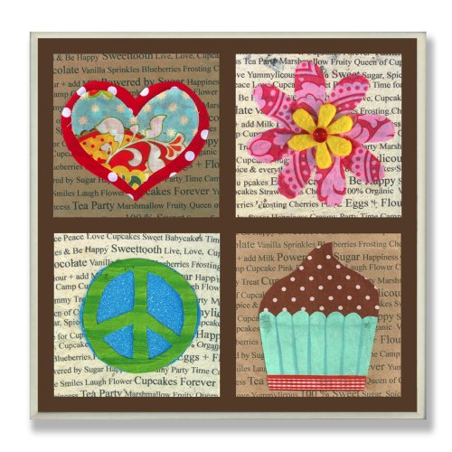 The Kids Room by Stupell Peace, Love, Flowers and Cupcakes Square Wall Plaque