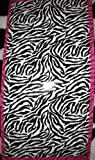 Black & White ~ Tiger Stripe ~ Beach Towel - Pink Stripe Accent.