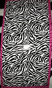 Essential Home Black & White ~ Tiger Stripe ~ Beach Towel - Pink Stripe Accent. at Sears.com