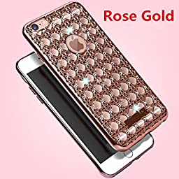 Galaxy Note 5 Case, Inspirationc® Soft Slim Electroplated Transparent Crystal TPU Diamond Rhinestone Sparkle Beauty Case Cover for Samsung Galaxy Note 5--Rose Gold