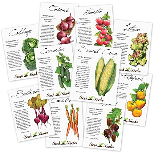 Heirloom Vegetable Seed Packet Assortment - 3,400+ Non-GMO Seeds