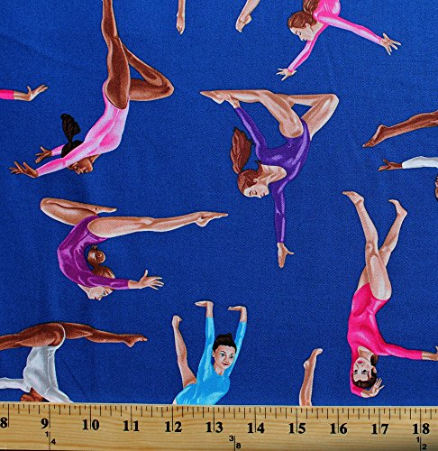 Cotton Gymnastics Sport Girls Performing Royal Blue Cotton Fabric Print By The Yard (Gm-C1763-Royal)