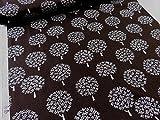 KAUNISカウニス 北欧風フォレスト森 ブラウン茶 シーチング生地   |生地|布地|綿|コットン|