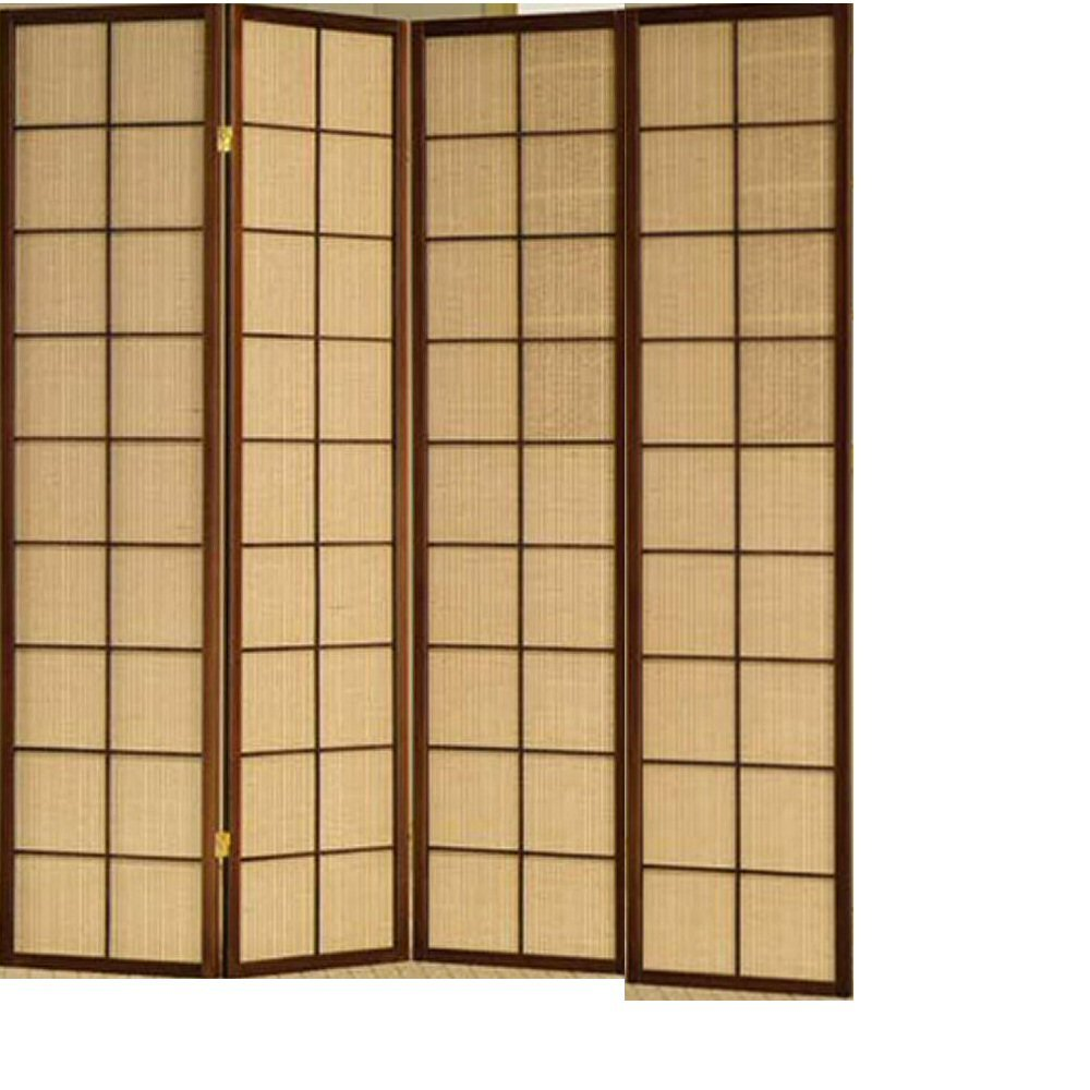 Shoji cherry wood frame room dividers w fabric inlay ebay - Room divider ...