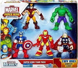 Marvel Playskool Super Hero Adventures Action Figure 5-Pack Super Hero Team Pack [Wolverine, Hulk, Captain America, Iron Man & Thor]