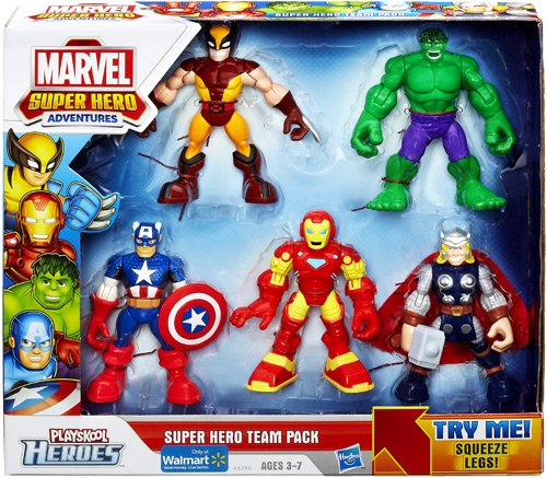 Playskool Heroes, Marvel Super Hero Adventures, Super Hero Team Pack [Wolverine, Hulk, Captain America, Iron Man, and Thor] (Marvel Heros Toys compare prices)