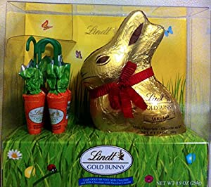 Lindt Chocolate Easter Bunny Gold Foil Wrapped Easter Bunny and Chocolate Easter Carrots 8.9 Ounce Gift Box
