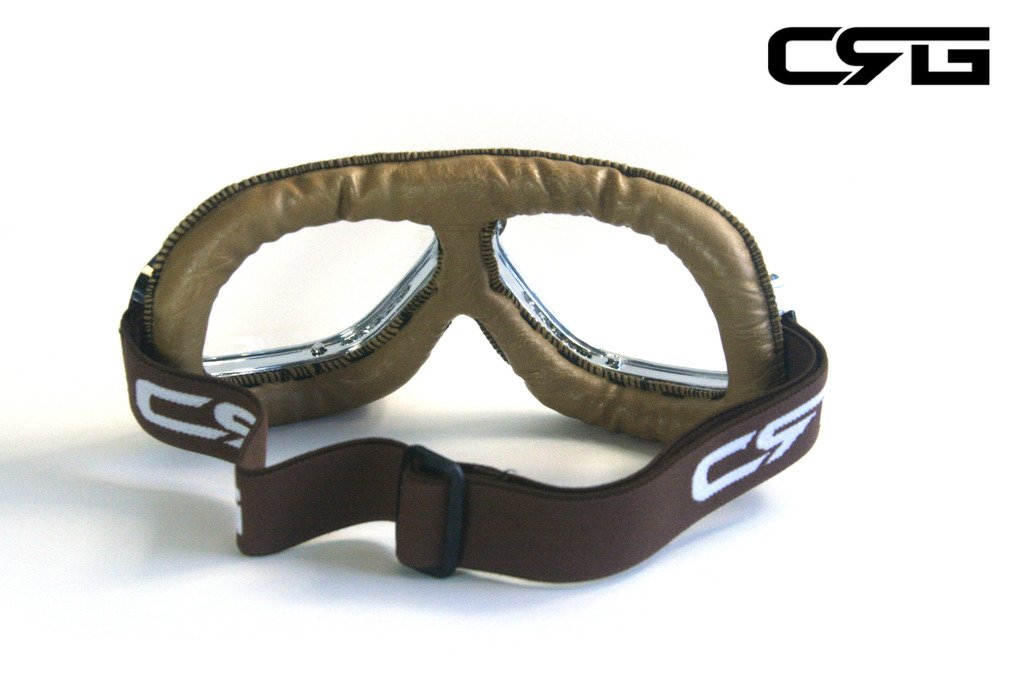 CRG Sports Vintage Aviator Pilot Style Motorcycle Cruiser Scooter Goggle T10 T10SCN-L Transparent lens, Silver frame, Light brown padding 3