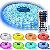 Rxment® Led Strip Lighting 10M 32.8 Ft 5050 RGB 300leds Flexible Color Changing Full Kit with 44 Keys IR Remote Controller +Control Box+ 12v 5A Power Supply for Home Lighting & Kitchen and Christmas Decorative
