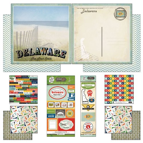 Scrapbook Customs Themed Paper and Stickers Scrapbook Kit, Delaware Vintage
