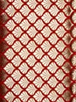 Red Katan Georgette Fabric from Banaras with Woven Leaves in Golden Thread - Pure Handloom Georgette