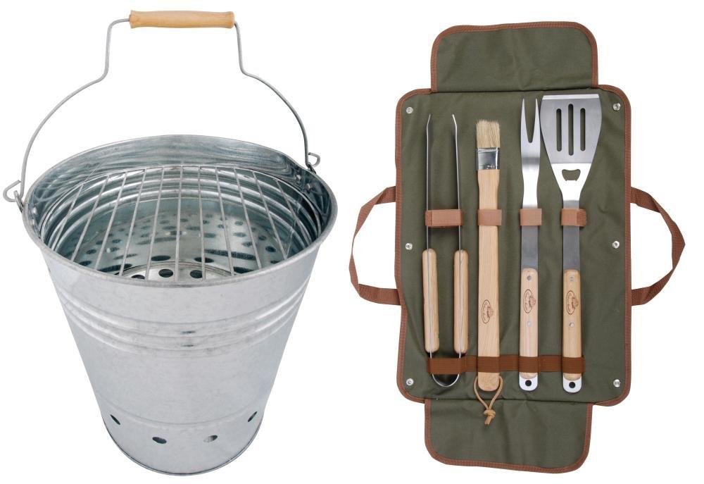 Esschert Design Set: BBQ Eimer, Grilleimer ca. 35 cm x 31 cm x 34 cm, inklusive Grillbesteck günstig