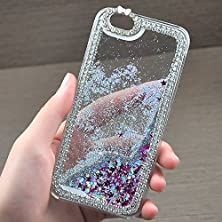 buy S4 Case, Caselo Moving Protective Luxurious Diamond Hard Plastic Case Cover Flowing Liquid Dazzling Bling Glitter Sparkle Stars Skin Slim-Fit For Samsung Galaxy S4 I9500 -White