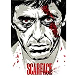 Scarface Black And White A4 NON TEARABLE High Quality Printed Poster Wall Art - 8.27 × 11.69 Inch