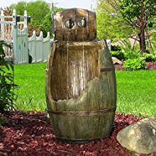 Sunnydaze Old Time Saloon Barrel Fountain with LED Lights 31 Inch Tall
