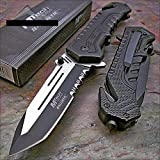 Mtech Ballistic Black Tanto Blade Rescue Pocket Knife New