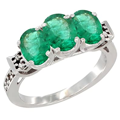Revoni 14ct White Gold Natural Emerald Ring 3-Stone Oval 7x5 mm Diamond Accent