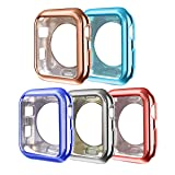 ISENXI Compatible with Apple Watch Case 38mm,5 Pack Soft TPU Ultra-Slim Lightweight Bumper Scratch Resistant Protective Case Cover Compatible with Apple Watch Series 3 2 1 (5Pack-X) (Color: 5Pack-X(Red/Lake blue/Rose gold/Navy blue/Gray black), Tamaño: 38 mm)