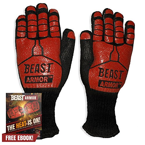 Sale!! Grill Beast BBQ Grilling Cooking Gloves - Heat Resistant Kevlar & Silicone Insulated Protecti...