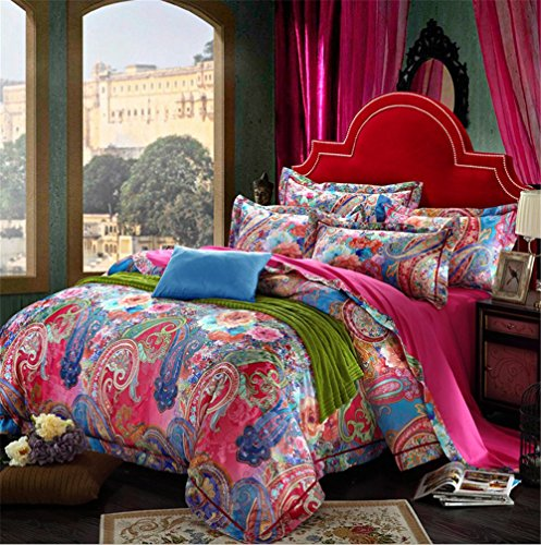 Auvoau-American-cotton-satin-jacquard-4pc-transfer-printing-thicker-Bohemian-Style-Duvet-Cover-Set-Queen-King-4PC