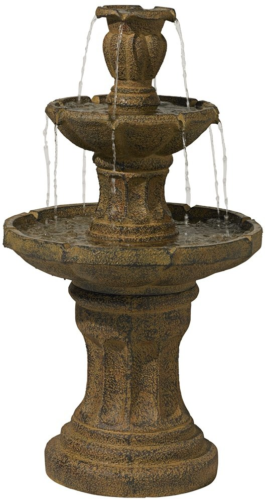 "Tuscan Garden Classic Dark Stone 41 1/2""H 3-Tier Fountain"
