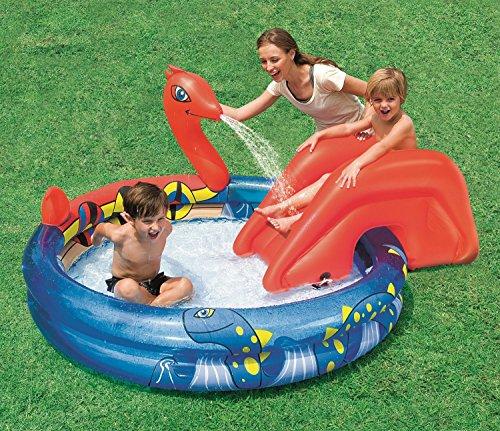 2m Planschbecken Pool + Rutsche Schwimmbecken Wikinger Kinder Babypool Spielpool