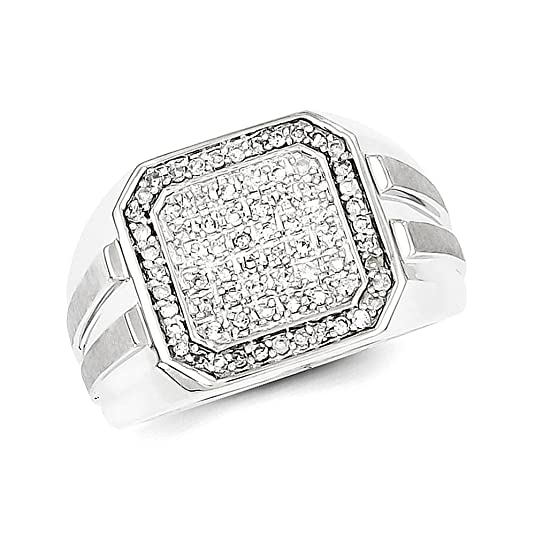 Sterling Silver Diamond Square Mens Ring