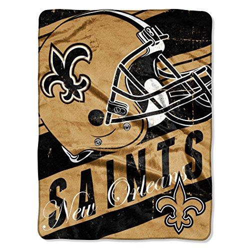 "Nfl New Orleans Saints ""Deep Slant"" Micro-Raschel Throw, Black, 46 X 60-Inch front-873697"