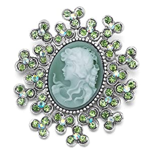 Pugster Classic Antique Lady Maiden Profile Oval Green Beauty Cameo Peridot Flower Floral Light Emerald Green Swarovski Crystal Diamond Accent Brooches Pins